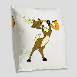 Reindeer And Saxophone Burlap Throw Pillow