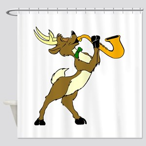 Reindeer And Saxophone Shower Curtain
