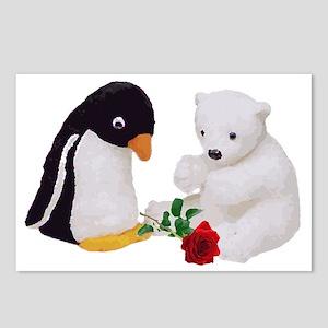 Penguin Polar Bear Rose Postcards (Package of 8)