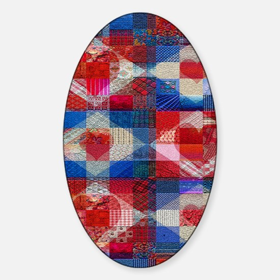 Many Hearts Patchwork Quilt Sticker (Oval)