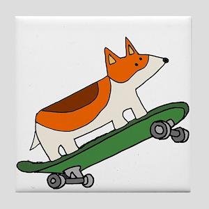 Welsh Corgi Skateboarding Tile Coaster
