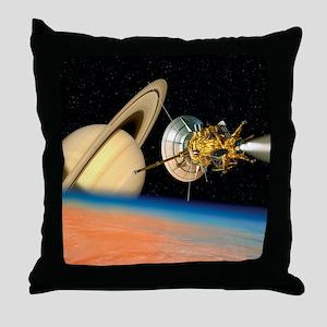 Computer artwork of Cassini spacecraf Throw Pillow