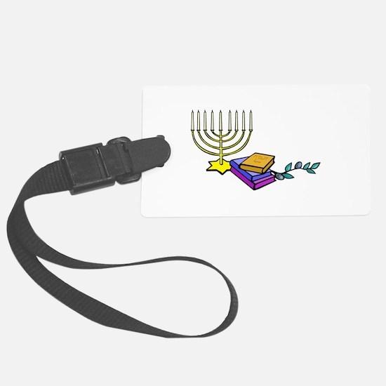 menorah and bible happy Chanukkah Luggage Tag