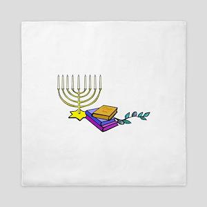 menorah and bible happy Chanukkah Queen Duvet