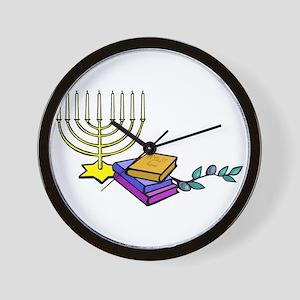 menorah and bible happy Chanukkah Wall Clock
