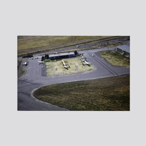 small airport view from a flying  Rectangle Magnet