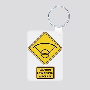 Caution Low Flying Aircraf Aluminum Photo Keychain