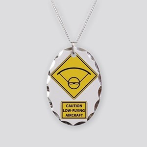 Caution Low Flying Aircraft Necklace Oval Charm