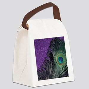 Purple and Black Peacock Canvas Lunch Bag