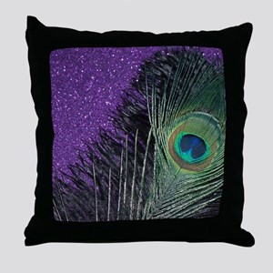 Purple and Black Peacock Throw Pillow