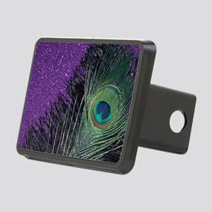 Purple and Black Peacock Rectangular Hitch Cover