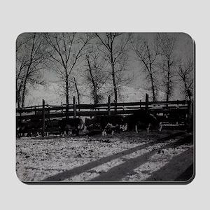 old snow farm scene Mousepad