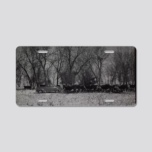 old farm scene with cows an Aluminum License Plate