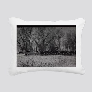 old farm scene with cows Rectangular Canvas Pillow
