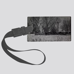 old farm scene with cows and tru Large Luggage Tag