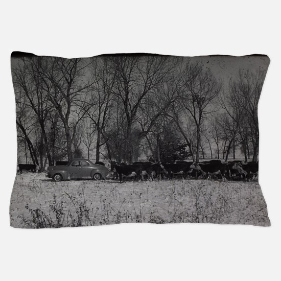 old farm scene with cows and truck Pillow Case