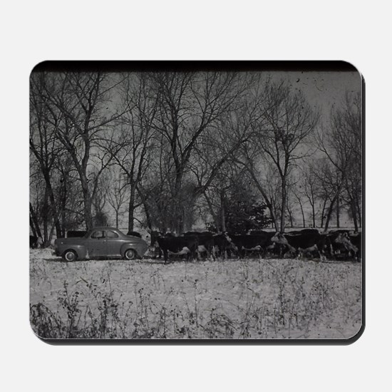 old farm scene with cows and truck Mousepad
