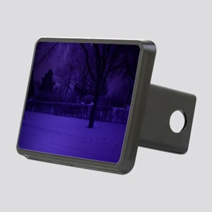 old blue tone snow scene Rectangular Hitch Cover