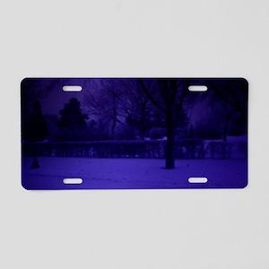 old blue tone snow scene Aluminum License Plate
