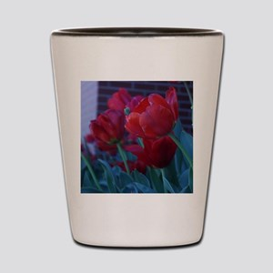 Red Flowers Shot Glass