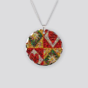 Heart Patchwork Love Quilt Necklace Circle Charm