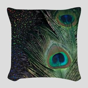 black rainbow peacock Woven Throw Pillow