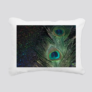 black rainbow peacock Rectangular Canvas Pillow