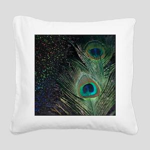 black rainbow peacock Square Canvas Pillow