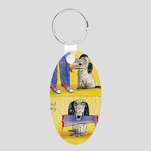 Good Dog, Bad Dog Aluminum Oval Keychain