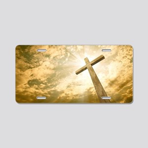 Stock Photo: cross against  Aluminum License Plate