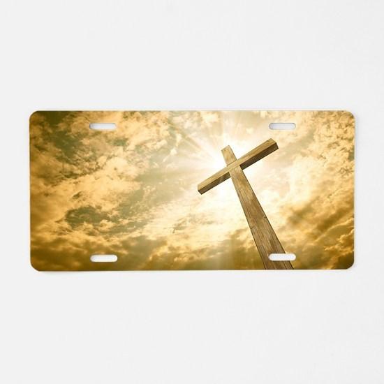 Stock Photo: cross against  Aluminum License Plate