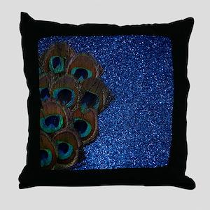 Blue Peacock Bouquet Throw Pillow