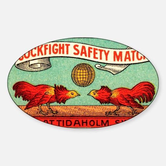 Antique Swedish Cockfight Matchbox  Sticker (Oval)