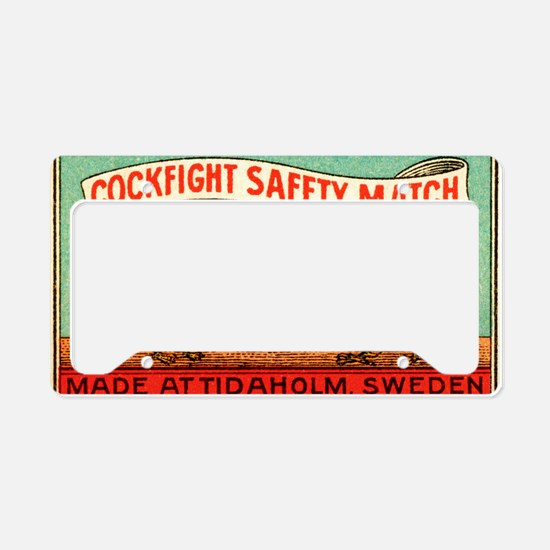 Antique Swedish Cockfight Mat License Plate Holder