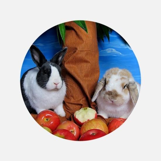 "Dinah and Macintosh Picking Apples 3.5"" Button"