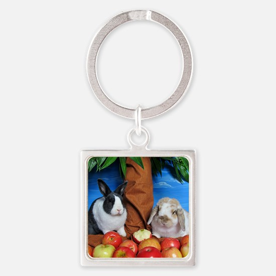 Dinah and Macintosh Picking Apples Square Keychain