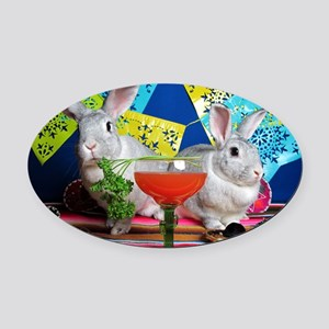 Tiggy and Beatrix Celebrate Cinco  Oval Car Magnet