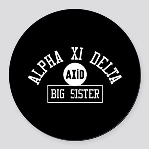 Alpha Xi Delta Big Sister Athleti Round Car Magnet
