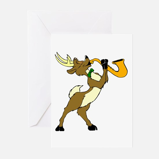 Reindeer And Saxophone Greeting Cards