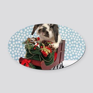 Dudley in Winter Sleigh Oval Car Magnet