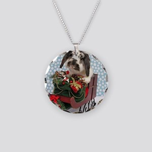 Dudley in Winter Sleigh Necklace Circle Charm