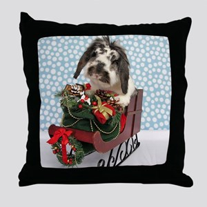 Dudley in Winter Sleigh Throw Pillow