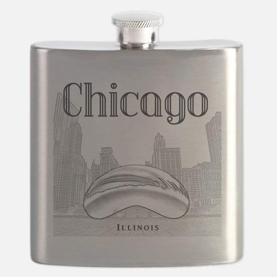 Chicago_10x10_ChicagoBeanSkylineV1_Black Flask