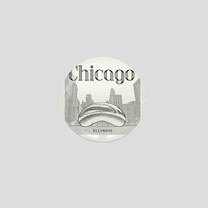 Chicago_10x10_ChicagoBeanSkylineV1_Bla Mini Button