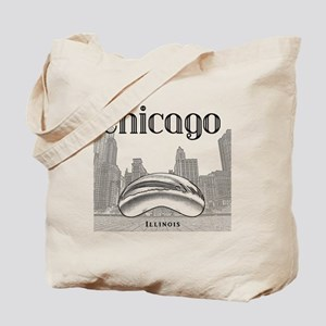 Chicago_10x10_ChicagoBeanSkylineV1_Black Tote Bag