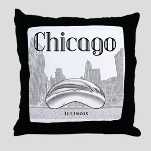 Chicago_10x10_ChicagoBeanSkylineV1_Bl Throw Pillow