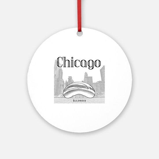 Chicago_10x10_ChicagoBeanSkylineV1_ Round Ornament