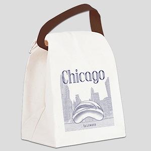 Chicago_10x10_ChicagoBeanSkylineV Canvas Lunch Bag