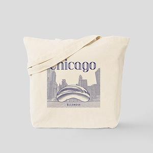 Chicago_10x10_ChicagoBeanSkylineV1_Blue Tote Bag