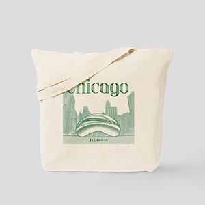 Chicago_10x10_ChicagoBeanSkylineV1_Green Tote Bag